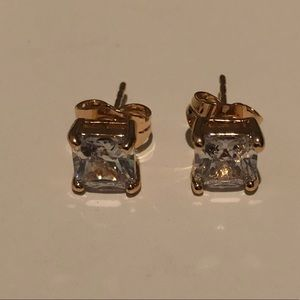 18k Gold Filled 6mm Square CZ Earrings
